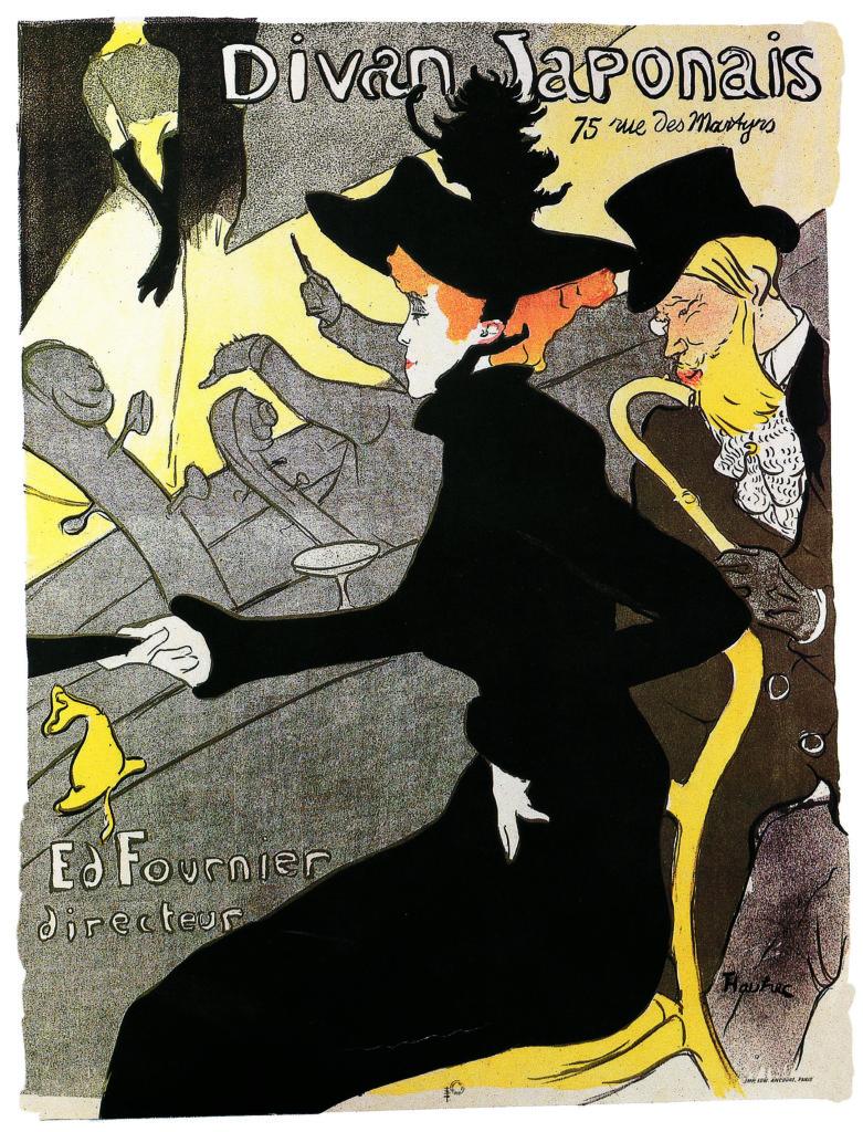 Henri de Toulouse-Lautrec, Divan Japonais,1892-1893, litografia, manifesto, collezione privata