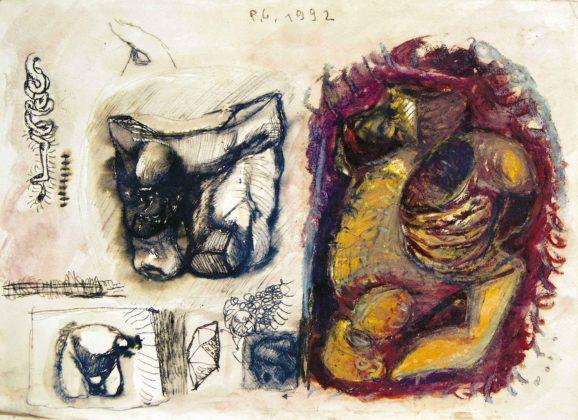 Pietro Geranzani, Disegno 48, 1992, inchiostro, acquarello e pastello su carta, cm 36×50,5