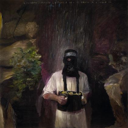 Pietro Geranzani L'Europa durante la pioggia IV. Io faccio la pioggia, 2018, olio su tela, cm 180×180