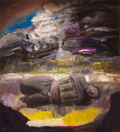 Pietro Geranzani, L'Europa durante la pioggia V, 2018, olio su tela, cavo elettrico, cm 220×200