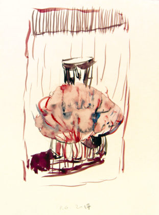 Pietro Geranzani, studio n. 1 per L'esplosione dell'uovo cosmico, 2017, acquarello su carta, cm 29,5×22