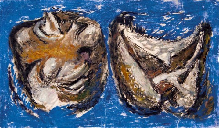 Pietro Geranzani, Due carcasse, 1996, carboncino, tempera e pastello su carta, cm 26,6×44,5
