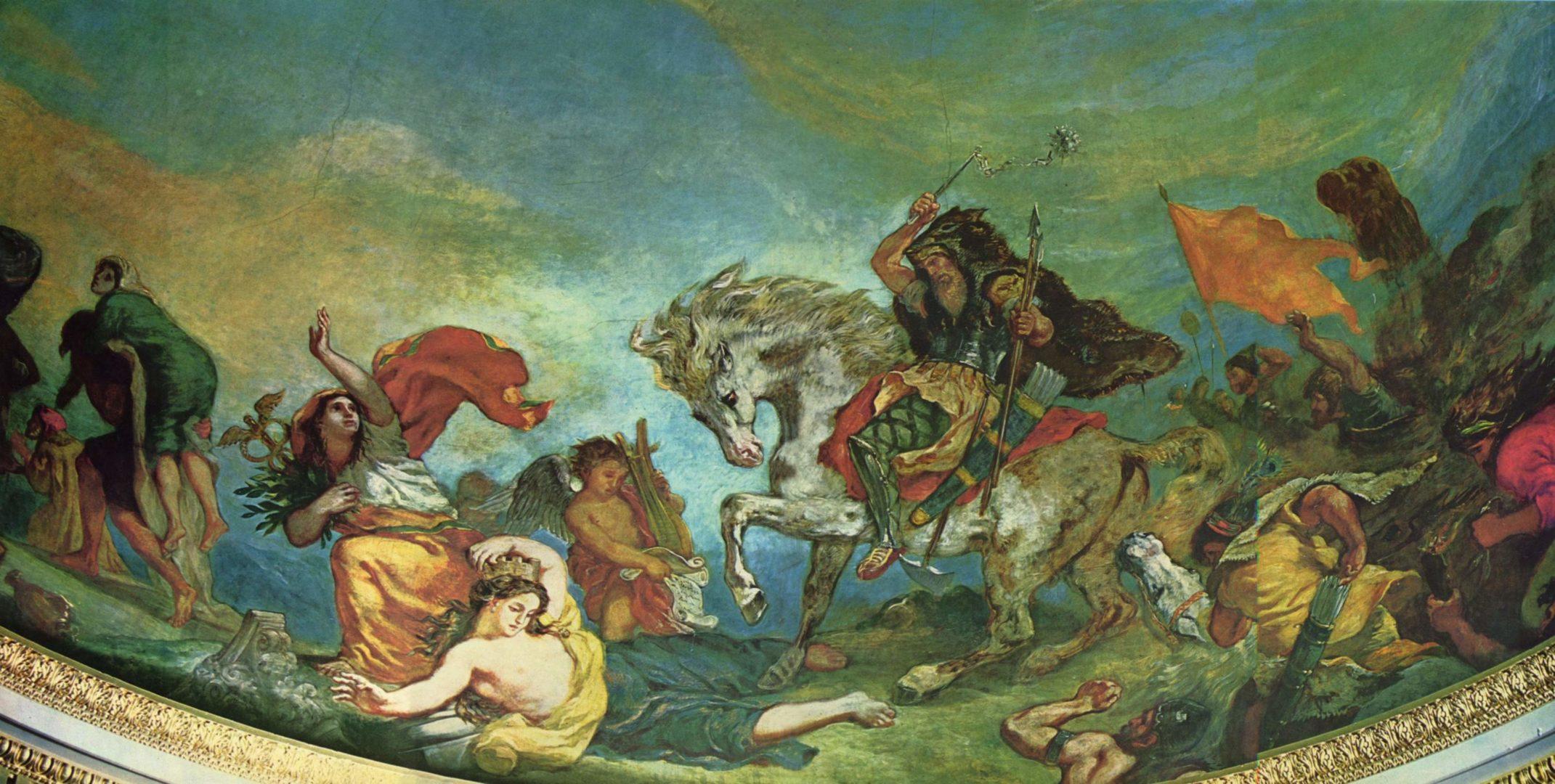 Eugène Delacroix, Attila e le sue orde sbaragliano l'Italia e le Arti, 1843-47, Affresco, 10,98 x 7,35 m, Parigi, Palazzo Borbone