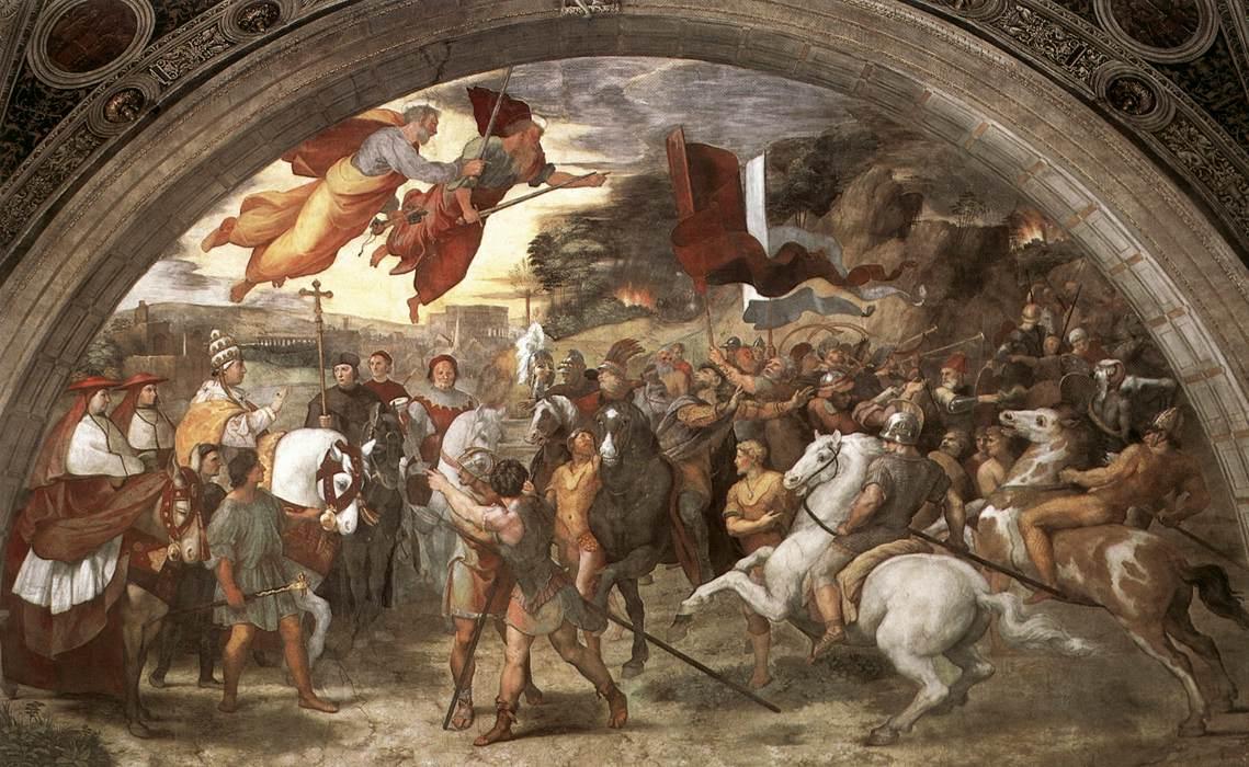 Incontro tra Papa Leone Magno e Attila affresco, 1514, Stanza di Eliodoro, Palazzi Pontifici, Vaticano.