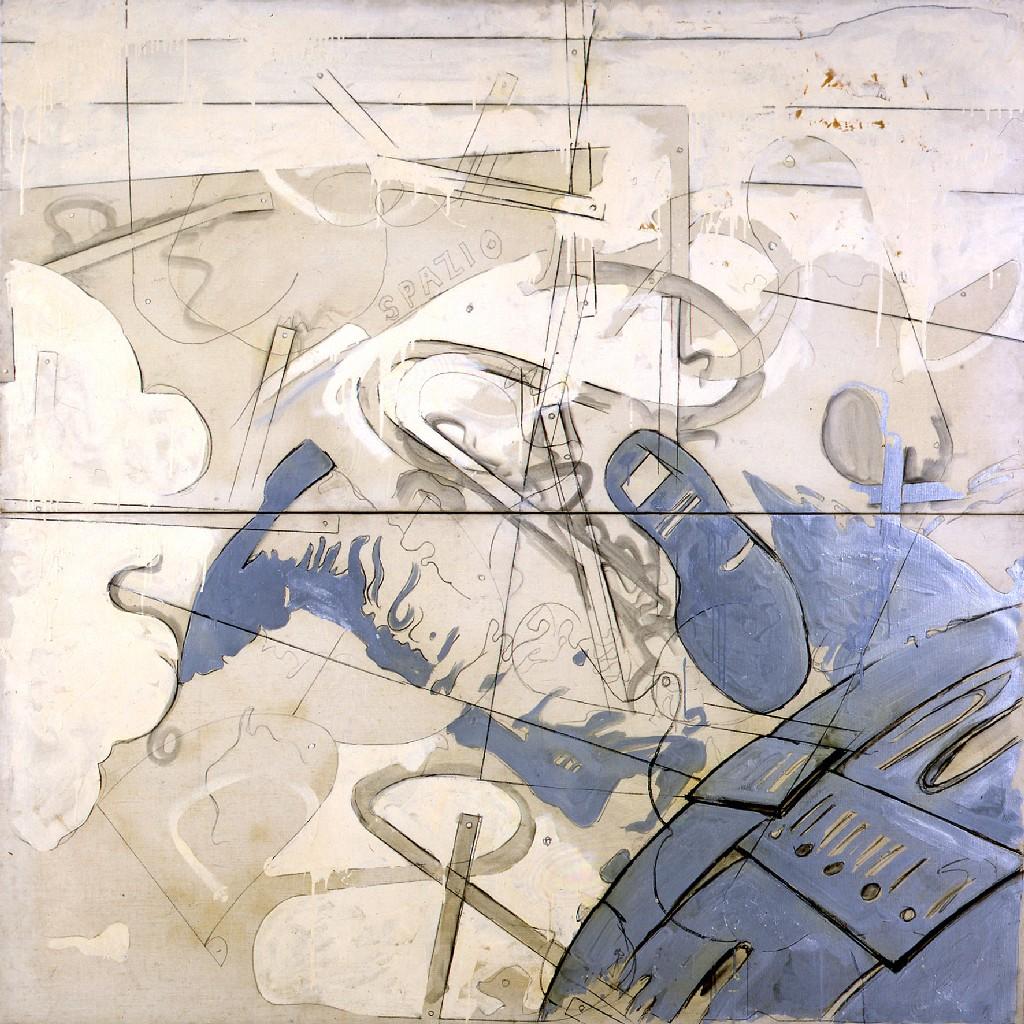 Mario Schifano Spazio, 1965 smalto e grafite su tela / enamel and graphite on canvas 200 x 200 cm collezione privata, Courtesy Fondazione Marconi, Milano © Mario Schifano by SIAE 2018