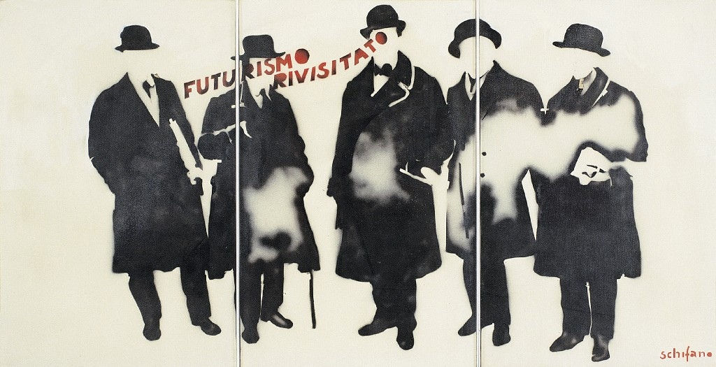 Mario Schifano Futurismo rivisitato, 1965 smalto e spray su tela e perspex / enamel and spray paint on canvas with perspex 174 x 336 cm collezione privata, Courtesy Fondazione Marconi, Milano © Mario Schifano by SIAE 2018