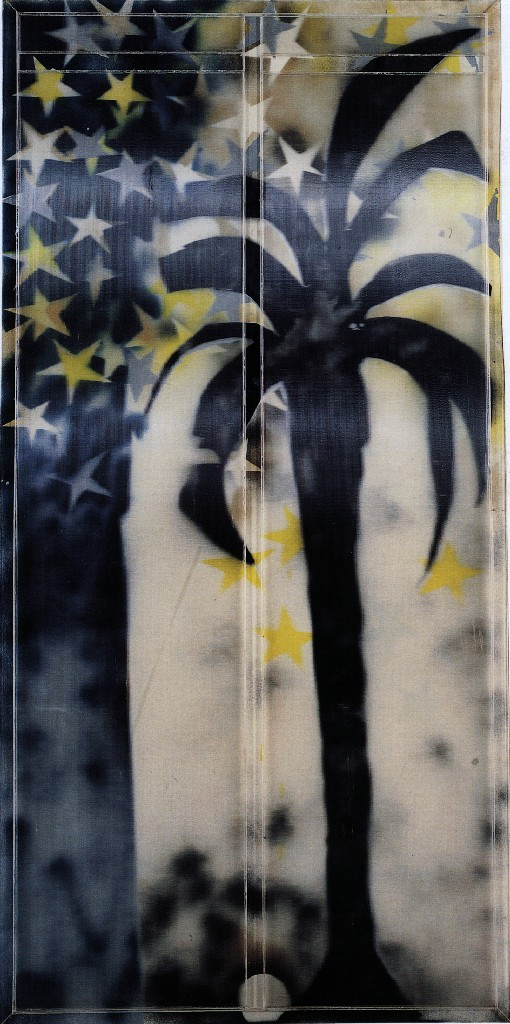 Mario Schifano Tuttestelle, 1967 smalto e spray su tela e perspex / enamel and spray paint on canvas with perspex 200 x 100 cm collezione privata, Courtesy Fondazione Marconi, Milano © Mario Schifano by SIAE 2018