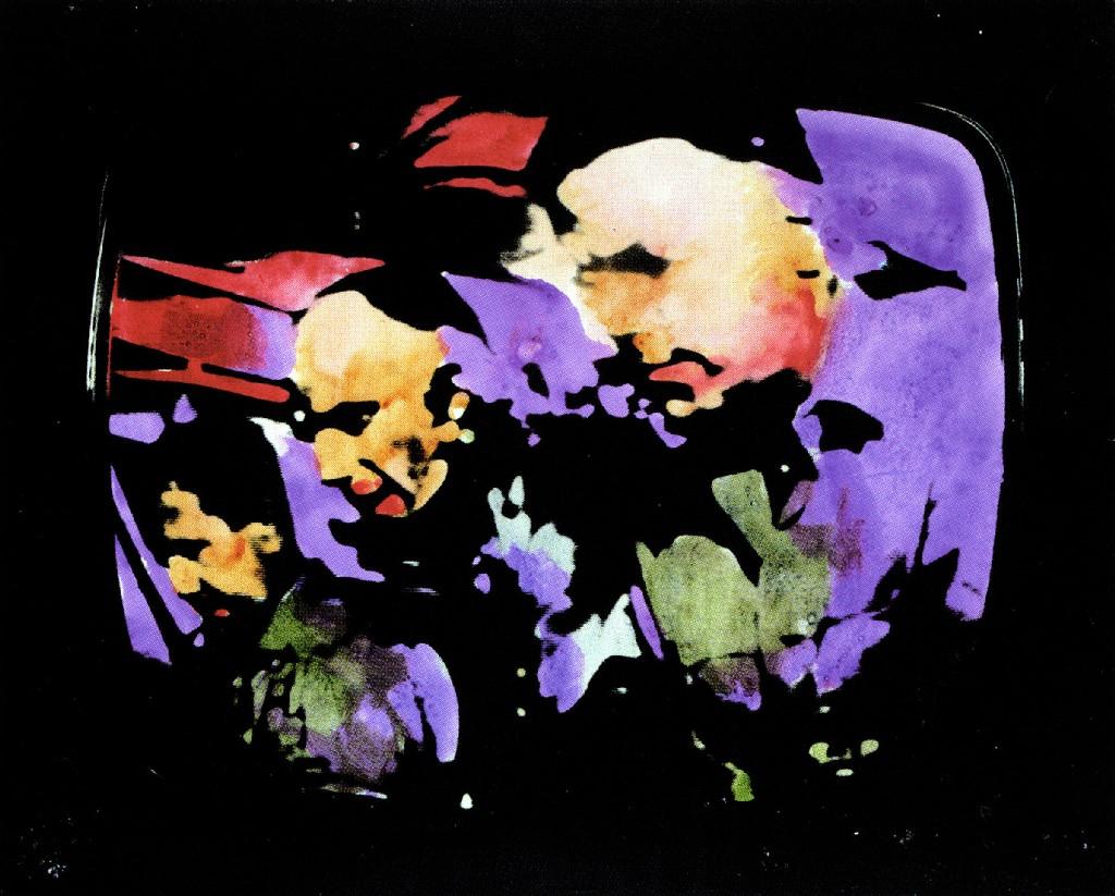 Mario Schifano Paesaggio TV. Astronauti, 1970 smalto e aniline su tela emulsionata e perspex / enamel, aniline and emulsion on canvas with perspex 74 x 92 cm collezione privata, Courtesy Fondazione Marconi, Milano © Mario Schifano by SIAE 2018