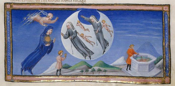 Dante e Beatrice incontrano gli abitanti del cielo della Luna in Paradiso, miniatura attribuita a Giovanni di Paolo, fonte: http://www.bl.uk/catalogues/illuminatedmanuscripts/ILLUMIN.ASP?Size=mid&IllID=56941